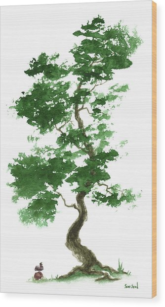 Little Zen Tree 365 Wood Print