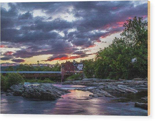 Littleton Sunset On The Rocks Wood Print