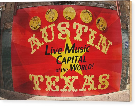 Live Music Mural Of Austin Wood Print by Andrew Nourse