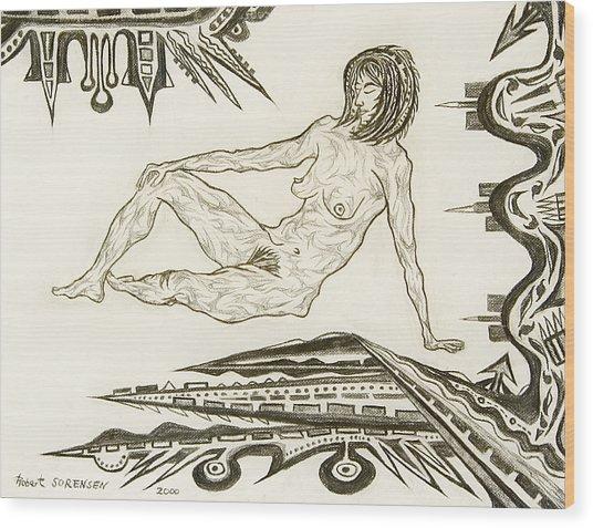 Live Nude 4 Female Wood Print