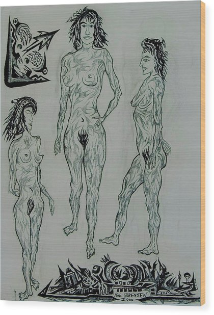 Live Nude 41 Female Wood Print