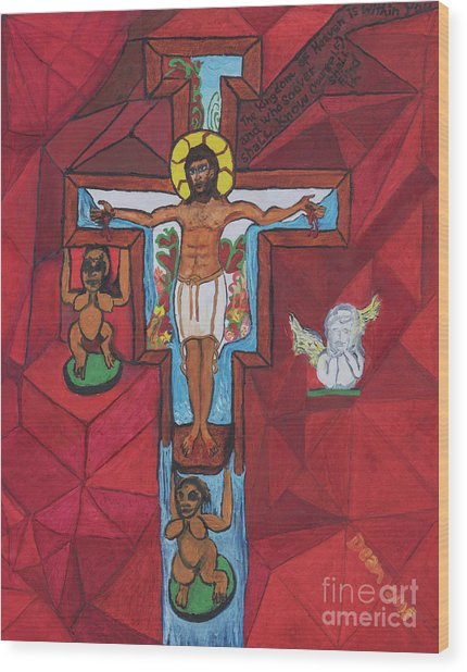 Living Christ Ascending Wood Print