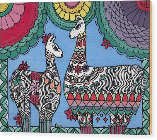Llama Mama Wood Print