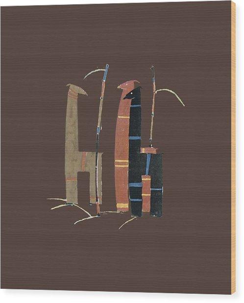 Llamas T Shirt Design Wood Print