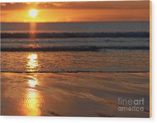 Llangennith Beach Sand Textures Wood Print