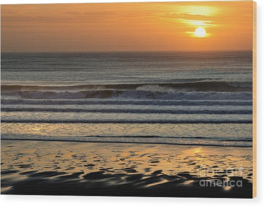 Llangennith Gold Reflections Wood Print