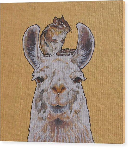 Llois The Llama Wood Print