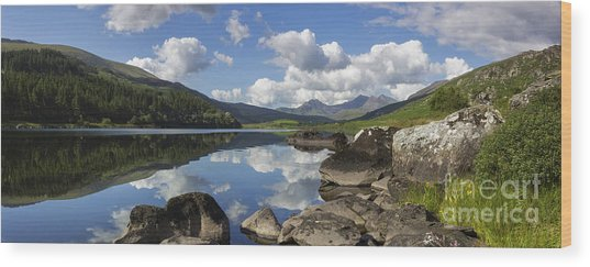 Llyn Mymbyr And Snowdon Panorama Wood Print