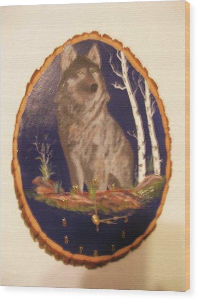 Lobo Clock Wood Print