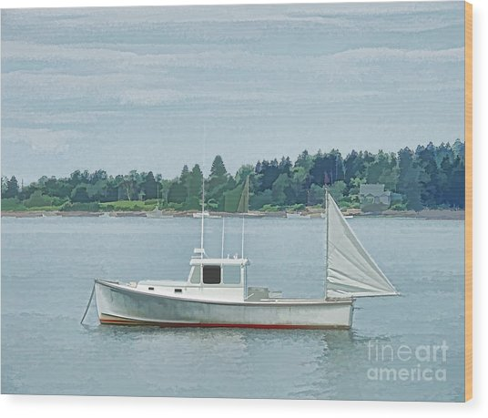 Lobster Boat Harpswell Maine Wood Print