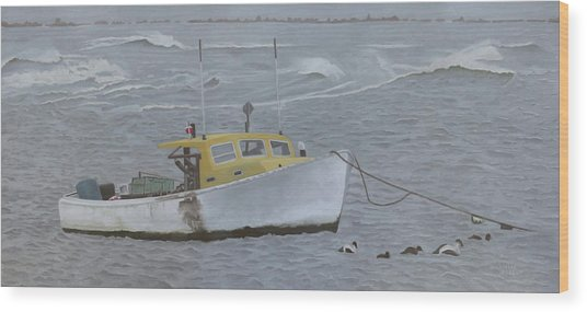 Lobster Boat In Kettle Cove Wood Print