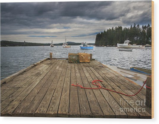 Lobster Boats Of Winter Harbor Wood Print