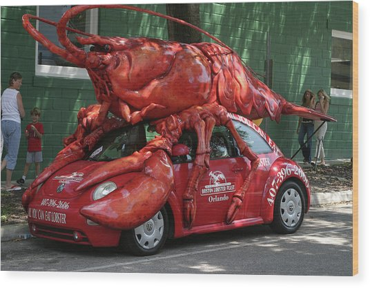 Lobster Car Wood Print by Carl Purcell