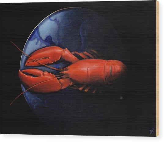 Lobster On Tiffany Plate Wood Print