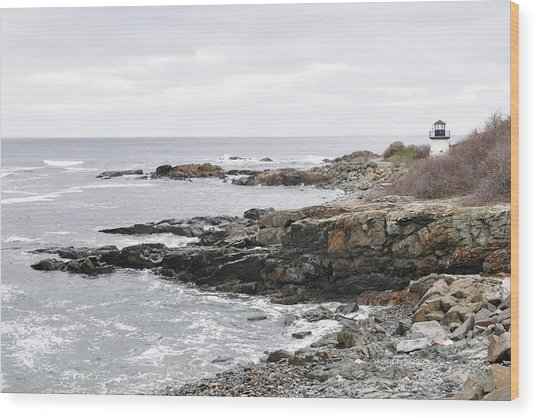 Lobster Point Lighthouse - Ogunquit Maine Wood Print