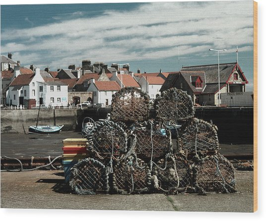 Lobster Pots Wood Print