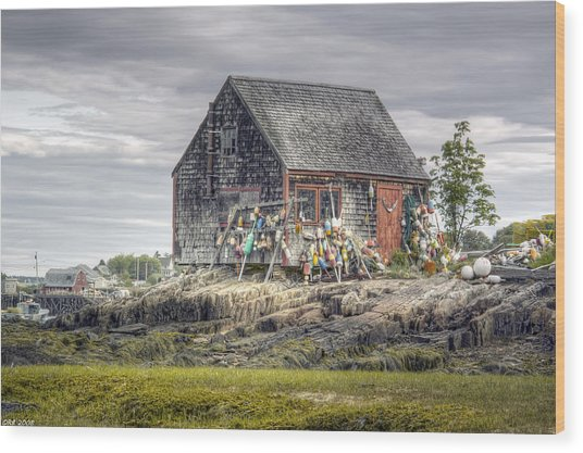 Lobsterman's Shack Of Mackerel Cove Wood Print