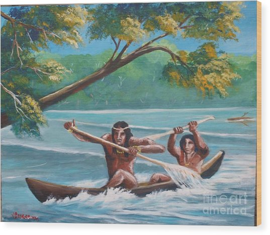 Locals Rowing In The Amazon River Wood Print