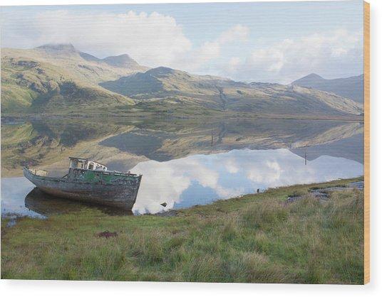 Loch Beg Reflects Wood Print