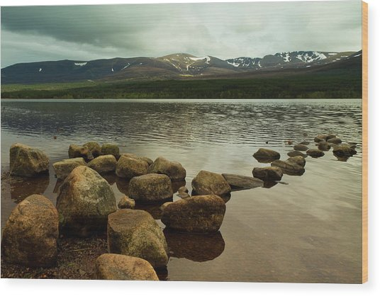 Loch Morlich And The Cairn Gorms Wood Print by Bill Buchan
