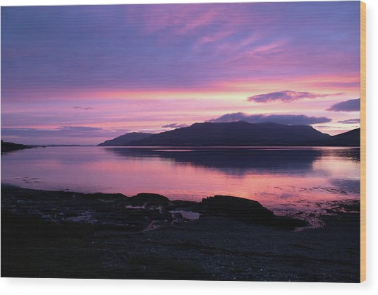 Loch Scridain Sunset Wood Print