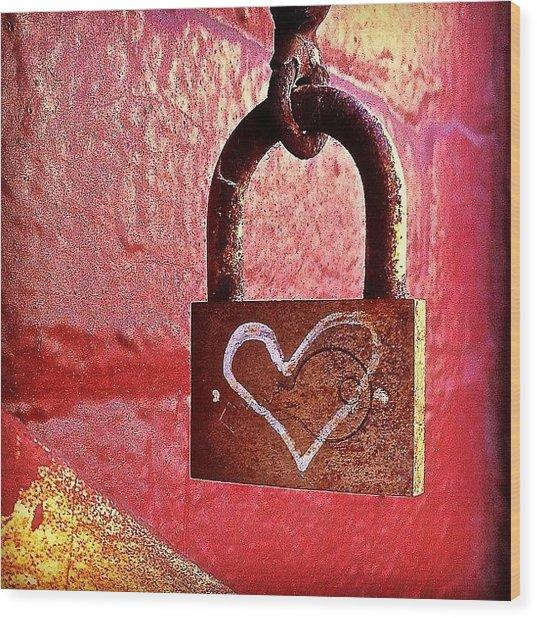 Lock/heart Wood Print