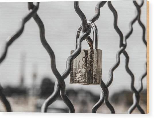 Locked In Paris Wood Print