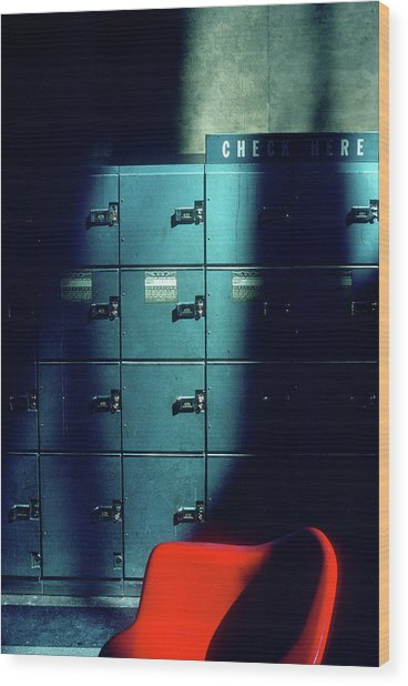 Lockers And Red Chair Wood Print