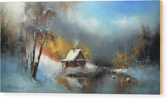 Lodge In The Winter Forest Wood Print