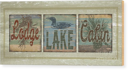 Lodge Lake Cabin Sign Wood Print