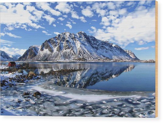 Lofoten Winter Scene Wood Print