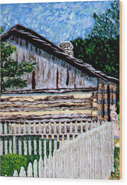 Log Cabin At Conner Prairie Wood Print by Stan Hamilton
