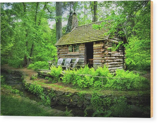 Log Cabin At Morris Arboretum Wood Print