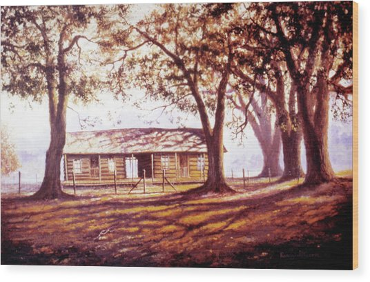Log House On 421 Wood Print