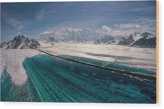 Logan Glacier Meltwater Wood Print