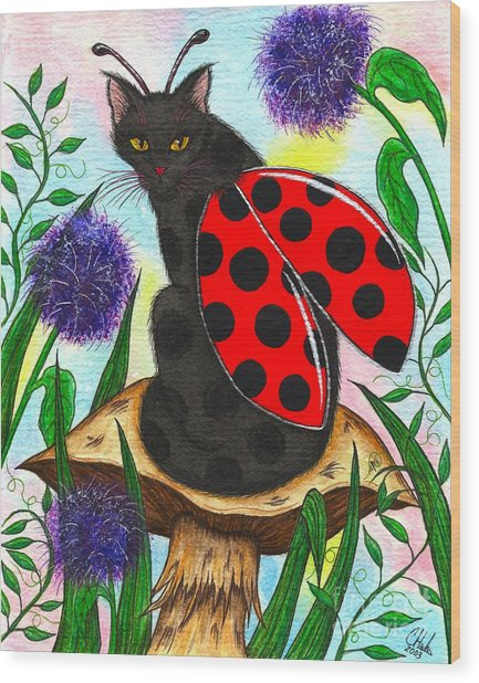Logan Ladybug Fairy Cat Wood Print