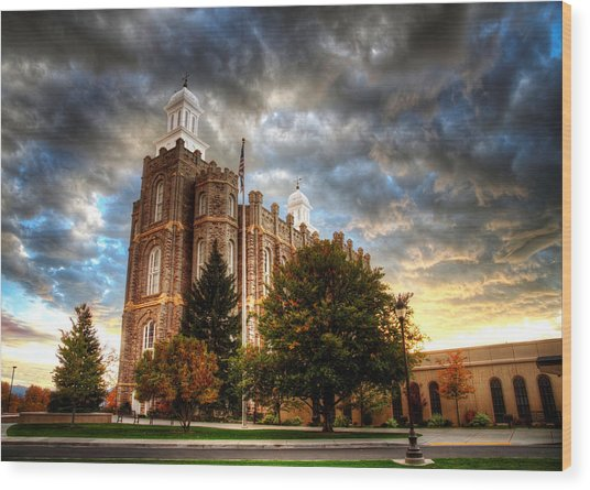Logan Temple Cloud Backdrop Wood Print