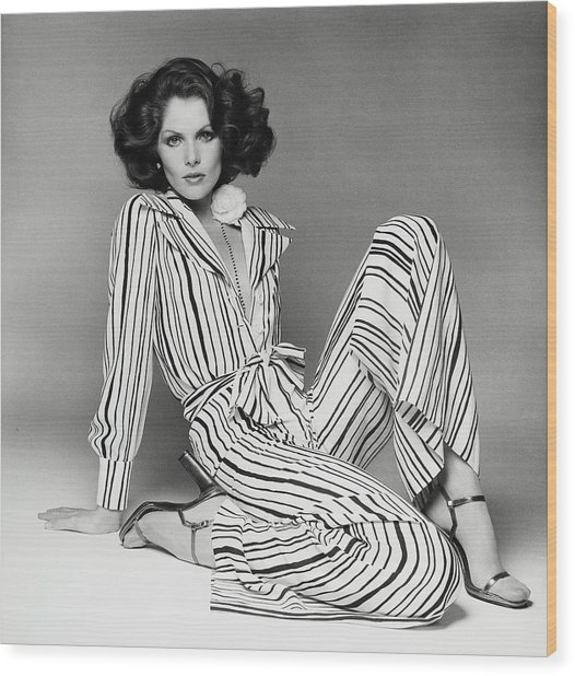 Lois Chiles Wearing A Striped Pajama And Blouse Wood Print by Francesco Scavullo