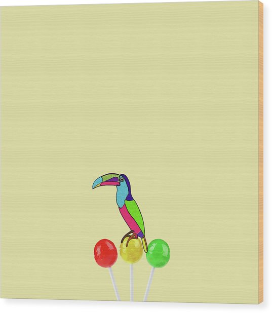 Lolipop Bird Wood Print