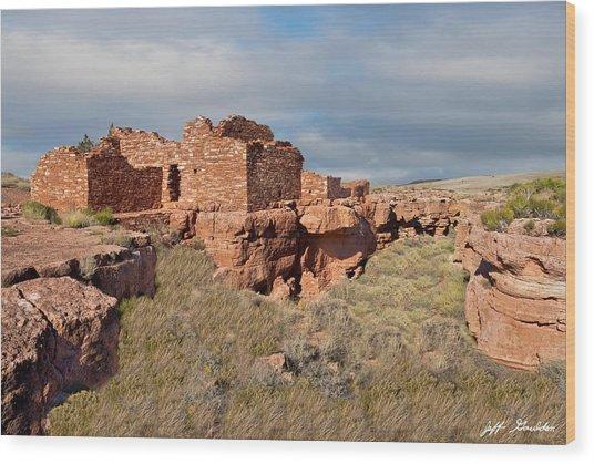 Lomaki Pueblo Ruins Wood Print