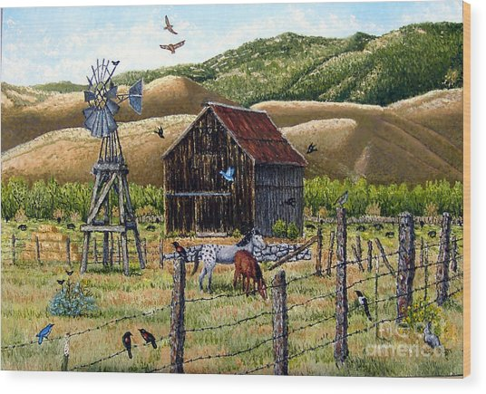 Lompa Valley Ranch Wood Print by Santiago Chavez