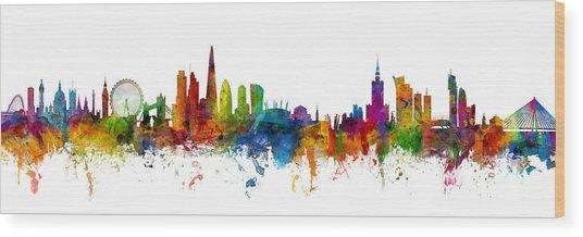 London And Warsaw Skylines Mashup Wood Print