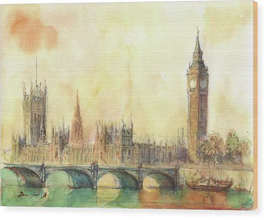 London Big Ben And Thames River Wood Print