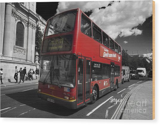 London Bus Wood Print
