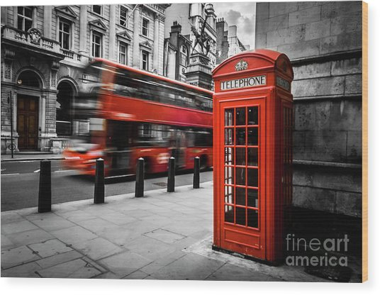 London Bus And Telephone Box In Red Wood Print