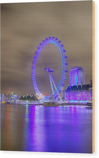 London Cityscape At Night 5x7 Wood Print