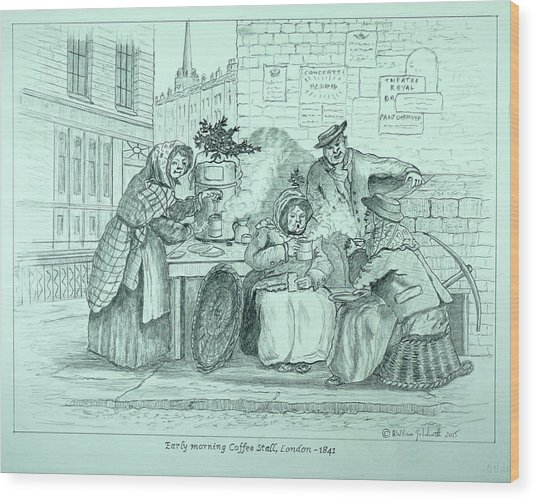 London Coffee Stall Wood Print
