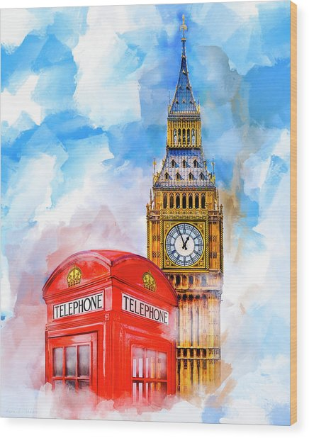 Wood Print featuring the mixed media London Dreaming by Mark E Tisdale