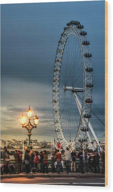 London Eye At Dusk Wood Print