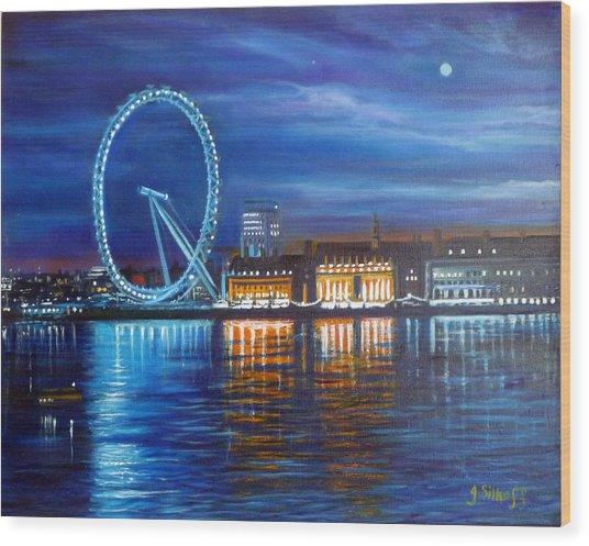 London Eye Wood Print by Janet Silkoff